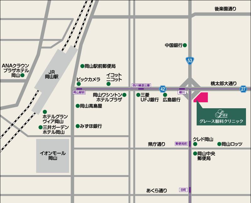 岡山市の眼科 グレース眼科クリニック 地図
